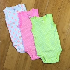 Carter's 3-PK lace Sleeveless floral Bodysuits 3M